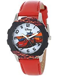 Kids' W001010 Tween Cars Stainless Steel Printed Bezel Red Leather Strap Watch