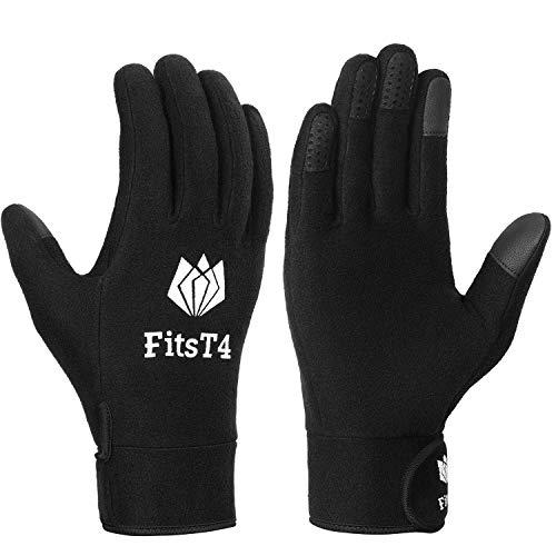 FitsT4 Field Player Gloves Sensitive Field Fleece Glove for Football, Soccer, Rugby, Lacrosse Black L