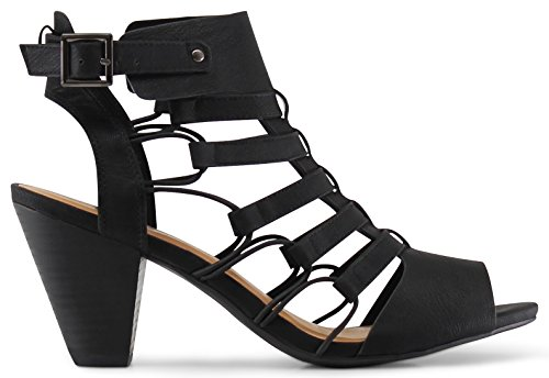 Marco Republic Krakow Gladiator Strappy Peep Toe Stacked Heels Sandals - (Black) - 8.5