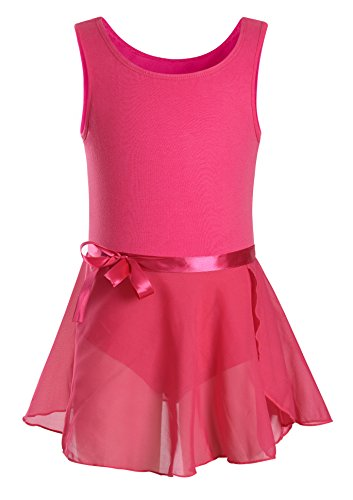 DANSHOW Girls' Classic Tank Top Skirted Leotard for Kids Gymnastics Training Dance Ballet Unitard (8-10, -