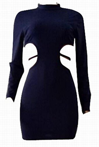 Mini Sexy Solido Tagliate Abito Bodycon Lunga 1 Manica Club Domple Womens xFZwTqaZ