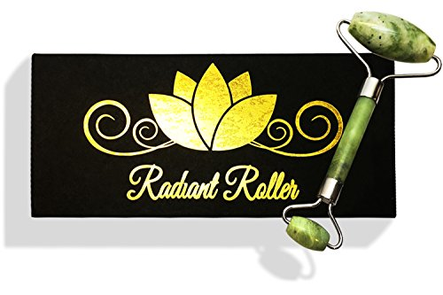 Radiant Roller Anti Aging Jade Roller PREMIUM QUALITY 100% Natural REAL Jade Stone WELDED Facial Roller Double Neck Healing Slimming Massager Therapy Tool to Rejuvenate Facial Skin