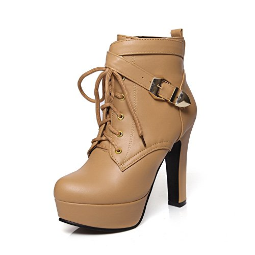 AdeeSu Womens Bandage Chunky Heels Buckle Platform Imitated Leather Boots Apricot eIaXD