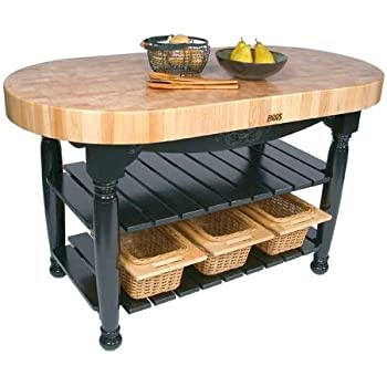 American Heritage Harvest Kitchen Island With Butcher Block Top Base Finish Caviar Black