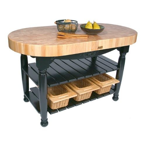 Maple Top Open Base Tables - American Heritage Harvest Kitchen Island with Butcher Block Top Base Finish: Caviar Black