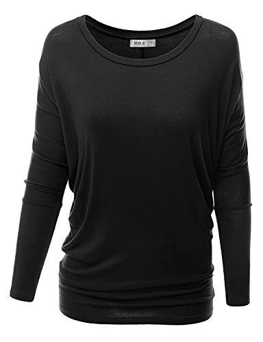 Doublju Women Scoop Neck Dye Floral Elastic Cascade Stripe BLACK Long Tunic Top,XX-Large,2XL