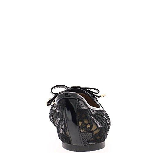 Ballerines grande taille noires avec noeud décoratif ajourées