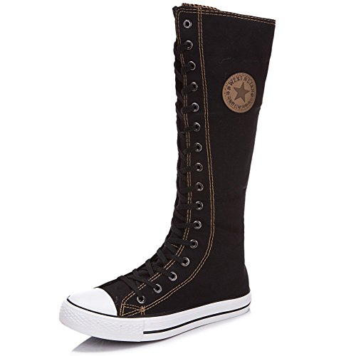Image of rismart Women's Lace Up Tall Punk Dancing Canvas Boots