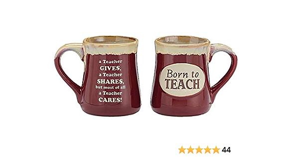 Porcelain Coffee Mug Born to Teach 18 Oz Gives Shares Cares School Gift