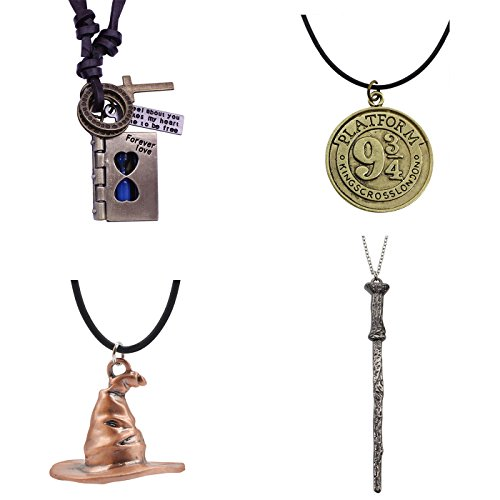 Price comparison product image T-PERFECT LIFE Magic Book Hourglass Ticket Magic Wand Hat Pendant Necklaces