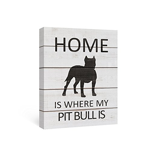 SUMGAR Black and White Wall Art Quotes on Canvas Paintings of Dog Home Decor for Black Pit Bull Gifts,12x16inch