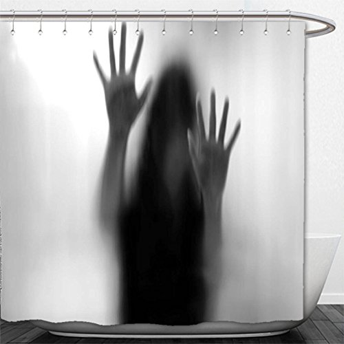 Interestlee Shower Curtain Horror House Decor Silhouette of Woman behind the Veil Scared to Death Obscured Paranormal Photo Gray by Interestlee