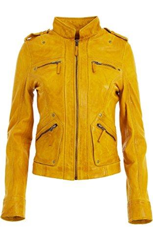 Femmes - Blouson cuir nappa souple ajusté classique mode rock Jaune Motard Veste