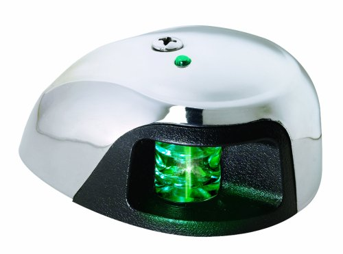 Attwood LED 2-Mile Deck Mount Navigation Bow Light, Stainless Steel (Starboard/Green LED Light) (Navigation Lights)