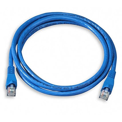 (25' FT CAT 6 Patch Cord Cable Blue 550 MHz 23 AWG Copper Snagless Ethernet UTP RJ45 Booted Molded Fast Media CAT6 RJ-45 Network Male to Male Category 6 High Speed Data Computer Gaming Jumper)