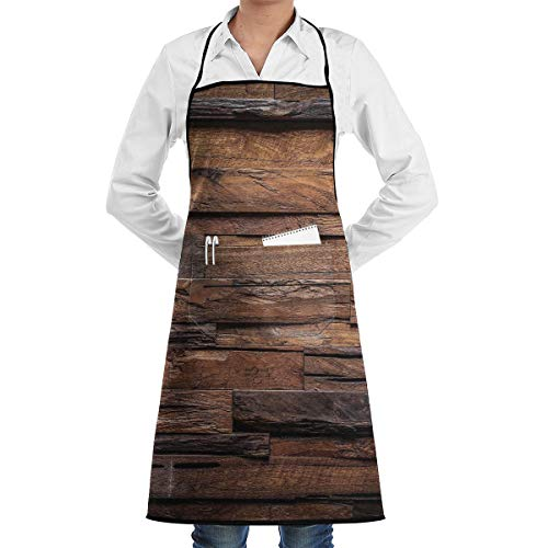 Chocolate Rough Dark Timber Texture Image Bib Apron Waterdrop Resistant With Pocket Cooking Kitchen Aprons For Women Men Chef