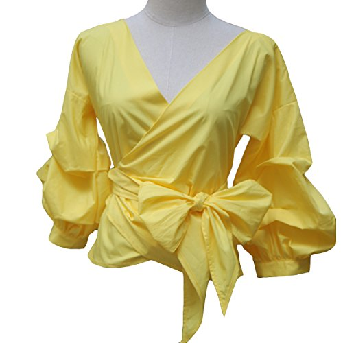 (AOMEI Women Spring Summer Blouses with Puff Sleeve Sashes Shirts Tops (XXL, Yellow))
