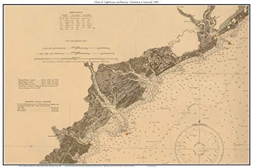 Charleston to Savannah 1899 Nautical Chart - Lighthouses and Beacons - Custom Reprint NOAA 400000 Scale Chart 12