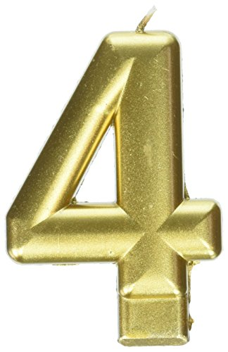 Amscan Birthday Celebration, Numeral #4 Metallic Candle, Party Supplies, Gold, 3 1/4