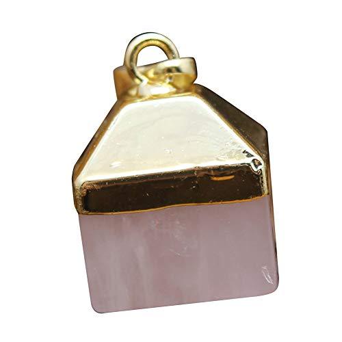TYewa98556 Women Cube Square Cone Faux Quartz Chakra DIY Pendant for Necklace Jewelry Decor - Pink