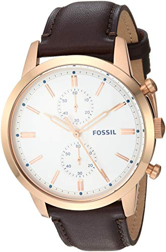 Fossil Men's 44mm Townsman Stainless Steel Quartz Leather Strap, Brown, 22 Casual Watch (Model: FS5468)