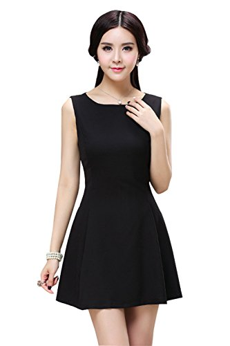 Stylishelf Women's Solid Black Round Neck Sleeveless Fit-and-flare Skater Dress (S, - Laundry Sleeveless Little Dress Black