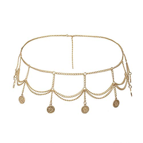 Mission Wall Mount Jewelry - Mayunn Women's Metal Thin Belt Simple Wild Summer Dress Charm Body Chain Jewelry - Individual Multi-Layer Relief Coin Waist Chain (Gold)