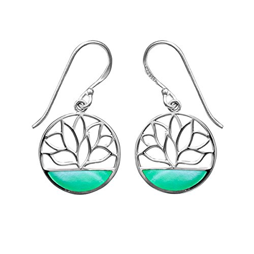 Boma Jewelry Sterling Silver Green Mother of Pearl Lotus Flower Dangle Earrings