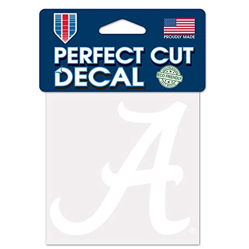 WinCraft NCAA Alabama Crimson Tide 4x4 Perfect Cut White Decal, One Size, Team Color Alabama Crimson Tide Four