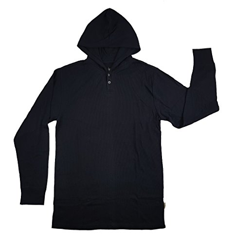 Mens Shirt Thermal Only (U.S. Polo Assn. Men's Long Sleeve Hooded Thermal Waffle Henley 2 Buttons Knit Shirt (Classic Navy, Small))