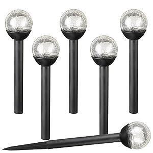 SET OF 6 Crackle Glass Globe White LED Black Solar Path Lights by SOLAscape