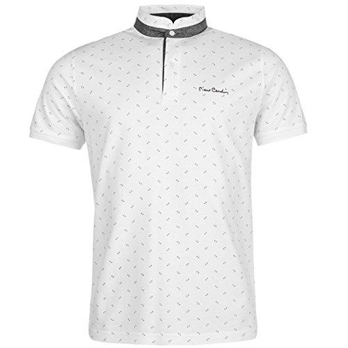 Pierre+Cardin+Mens+100%25+Cotton+Granddad+Collar+Short+Sleeves+Mandarin+Polo+Print+Shirt+-+Multicoloured+-+Medium+-+X-Large+Sizes+Available+%28Large%2C+White%29