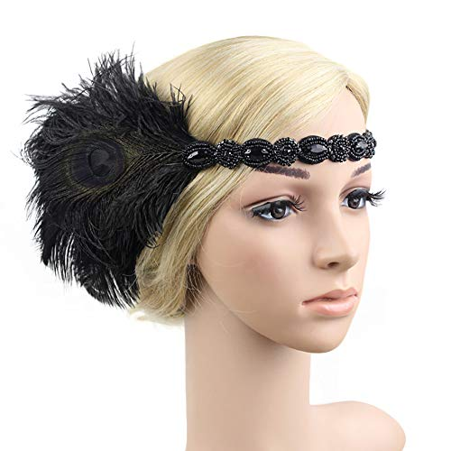 1920s Flapper Headbands Great Gatsby Rhinestone Headpiece with Peacock Feather Jewel Hair Accessories (Black) ()