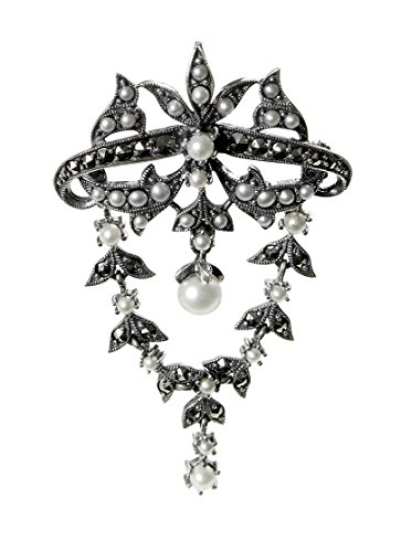 Marcasite And Pearl Pin (Seed Pearl and Marcasite Medium Dangling Pin / Pendant)
