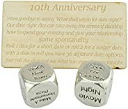 TIN Date Night Dice 10th Anniversary 100% Pure Tin - Create a Unique 10th Anniversary Date Night