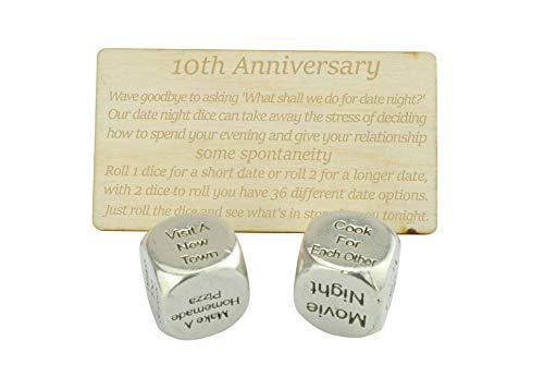 10 Year Anniversary Metal Date Night Dice 100% Pure Tin - Create a Unique 10th Anniversary Date Night (Gift Wedding Anniversary Year 10)