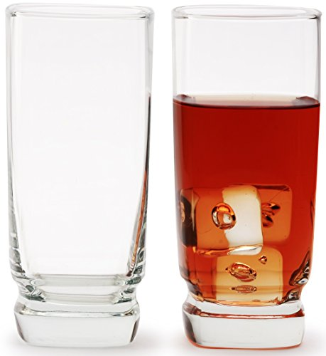 Circleware Copenhagen Heavy Base Clear Glass Drinking Glasses Set, 15 Ounce, Set of 4, Limited Edition Glassware Drinkware Drink Cups coolers by Circleware
