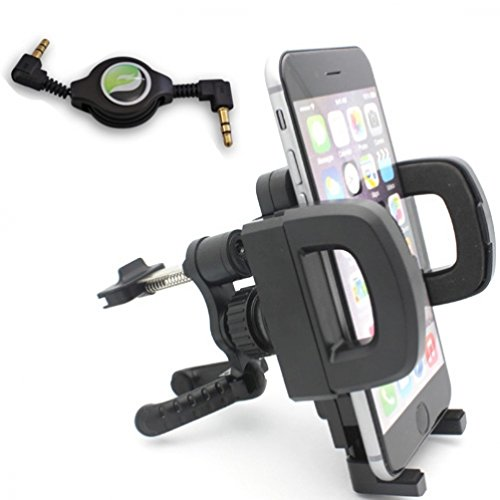 Price comparison product image Universal AC Car Air Vent Mount Phone Holder Dock + Retractable 3.5mm Stereo Auxiliary Cable for T-Mobile Alcatel OneTouch Fierce 2 - T-Mobile Alcatel OneTouch Pop Astro - T-Mobile Apple iPhone 4 - T-Mobile Apple iPhone 4S - T-Mobile Apple iPhone 5