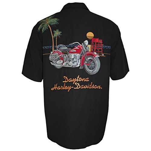 Bruce Rossmeyers Daytona Harley-Davidson Custom Tori Richard's Men's X-Large Silk Button Up Black ()