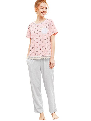 Print Lace Hem Tee & Pants Pajamas Set Medium Pink ()