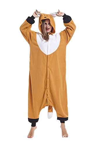 Sqlszt Women Men Adult Animal Fox One Piece Onesie Cosplay Pajamas Costume XL