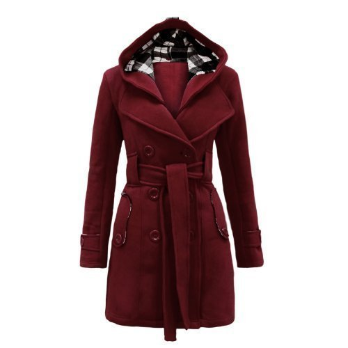 Envy Boutique Women's Military Button Hooded Fleece Belted Jacket Wine 12