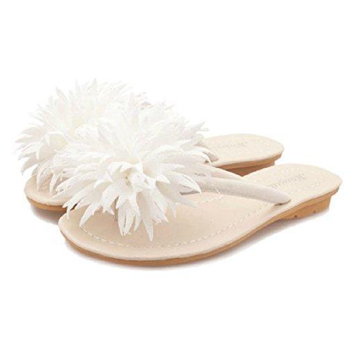 Womens Fashion Flower Slippers Outdoor Antislip Strand Sandaal Zomer Slapper Schoenen Wit