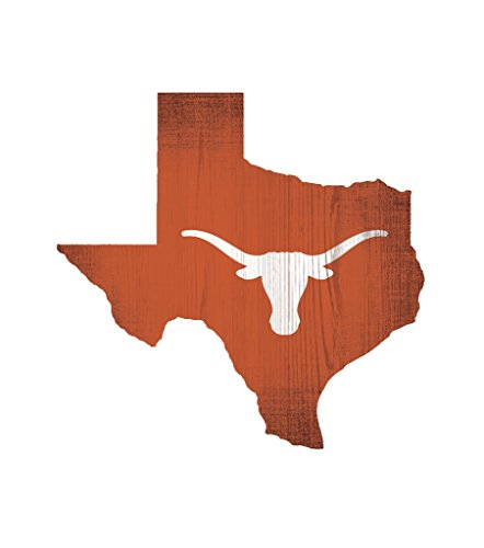 (Fan Creations Texas Longhorns Wood Sign 12 Inch State Shape Design)