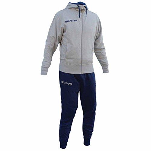 GIVOVA POKER Tuta Da Ginnastica Sportiva Cotone Uomo Bambino Felpa Giacca Com Cappuccio e Zip Pantaloni stretti sotto, Colore: Grigio/Blu, Taglia: XL