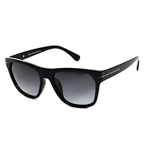 MMK collection Polarized Square Mirrored Sunglasses (Black glossy frame, black tinted - Cheap Mk Sunglasses