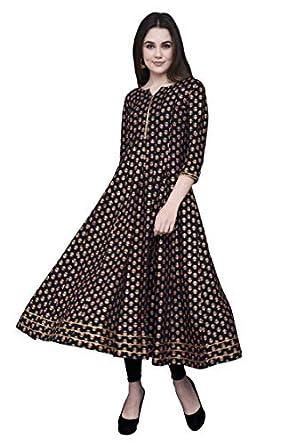 GULMOHAR JAIPUR Women Rayon A-Line Printed Kurta (Black)