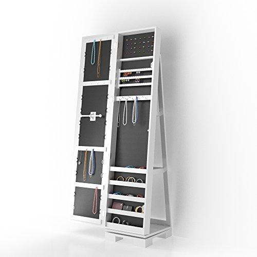 3in1 Schmuckschrank Spiegelschrank 360° drehbar mit Leiterregal Standspiegel Schmuckkasten Lucie -