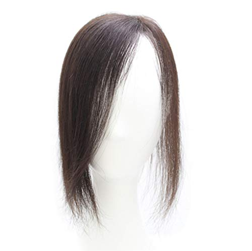 """Real Human Hair Toppers 11"""" Clip in Mono Top Crown Hairpieces for Thinning Hair Side Part (Dark Brown)"""