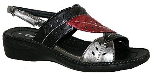 Damen Cushion Walk leicht Sommer Slingback Sandale mit Blatt Design schwarz/red